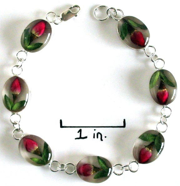 Real Flower Sterling Silver Bracelet - Rose Oval