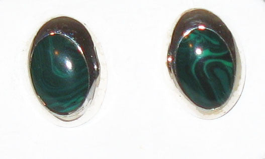Sterling Silver and Malachite Stone Earrings