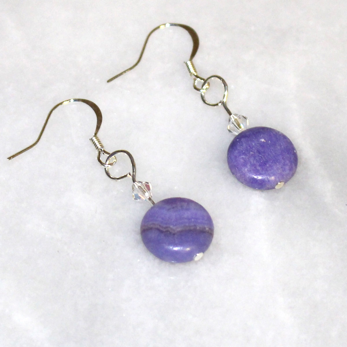 Purple Stone Earrings With Swarovski Crystal - Real Stone Earrings