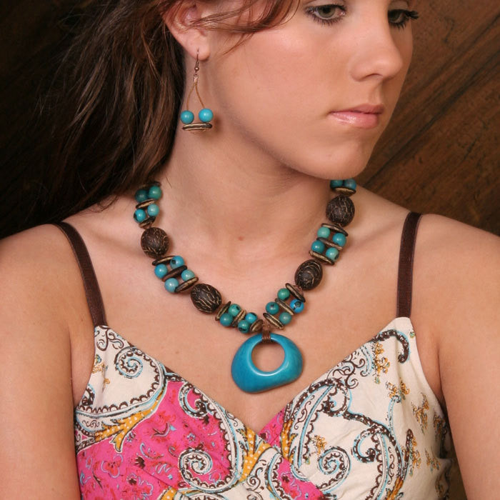 Turquoise Tagua Seed Necklace