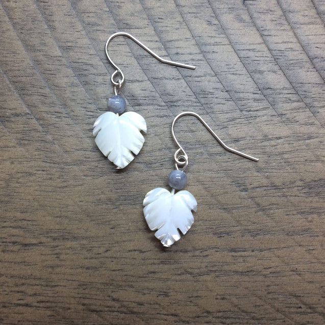 Palm Leaf Mother of Pearl Drop Earrings