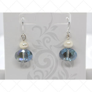 Blue Crystal Pearl Earrings