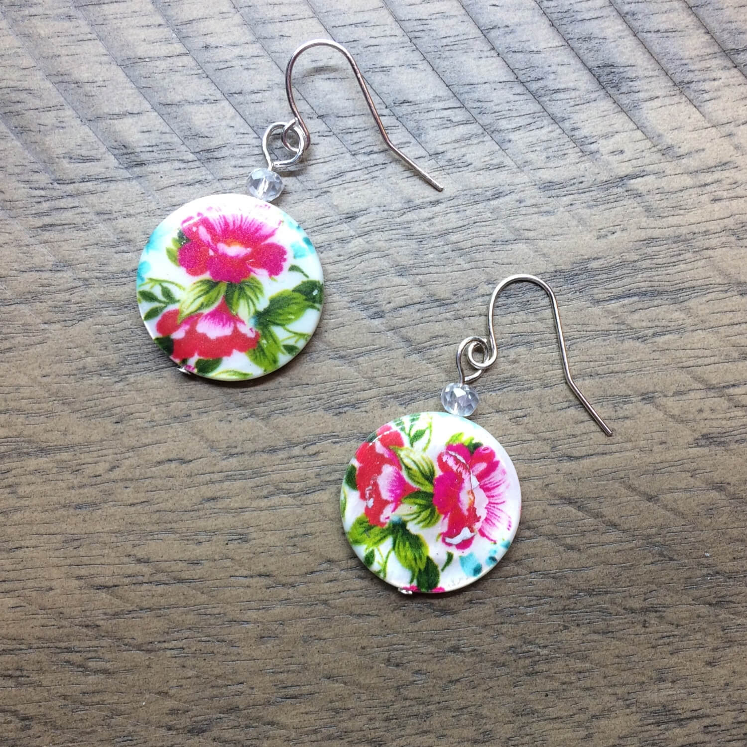 Pink Flower Print Shell Earrings