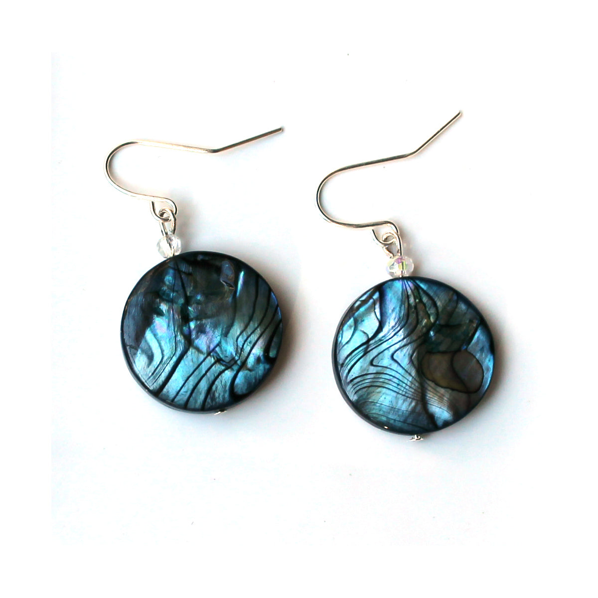 blue earrings made with natural shell, drop earring style