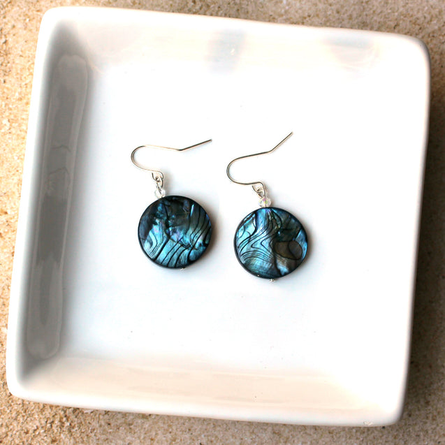 drop earrings, blue earrings made with natural shell