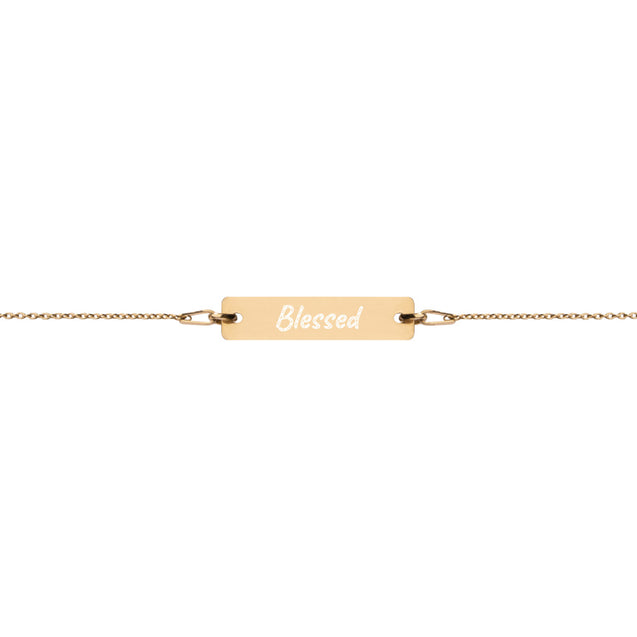 Blessed - Engraved Silver Bar Chain Bracelet