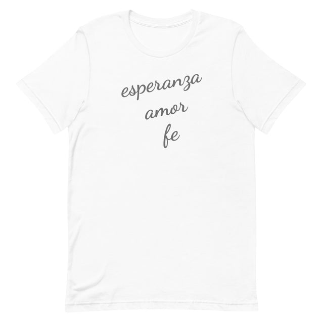 Esperanza Amor Fe Short-Sleeve Graphic T-Shirt