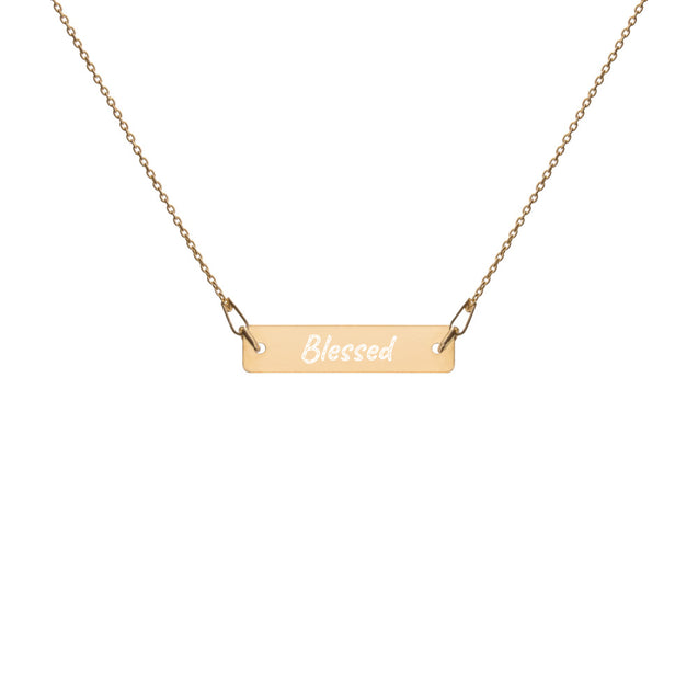Blessed - Engraved Silver Bar Chain Necklace