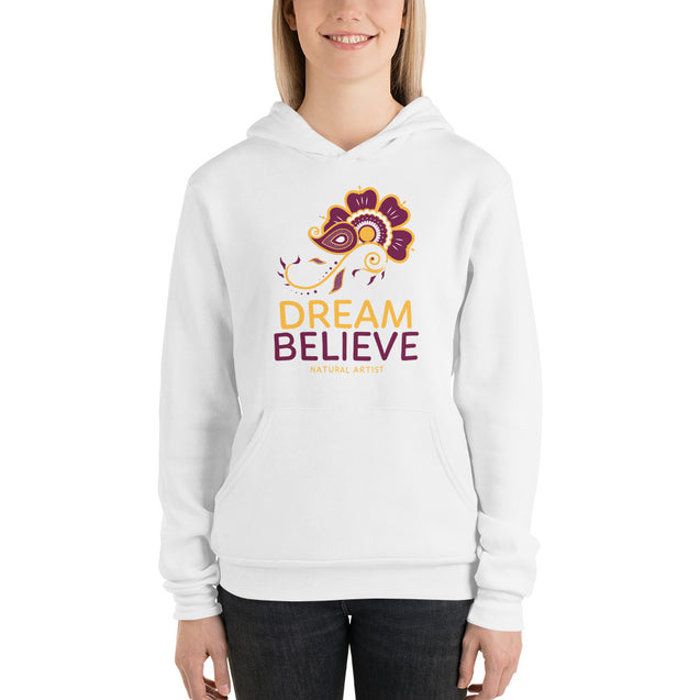 Dream Believe White Hoodie By Natural Artist