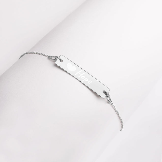 Hope and Heart Engraved Silver Bar Chain Bracelet