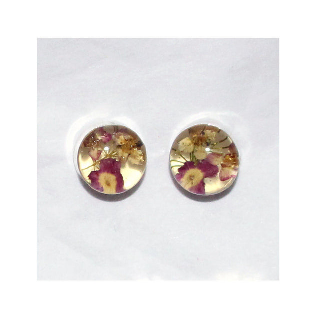 Wholesale Real Flower Sterling Silver Small Stud Earrings