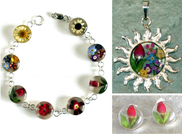 Real Flowers Sterling Silver Jewelry Bundle
