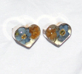 Sterling Silver Real Flower Stud Earrings - Hearts Forget Me Nots