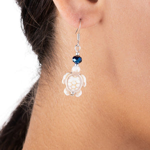Turtle Earrings - White Turquoise and Sapphire Blue Crystal