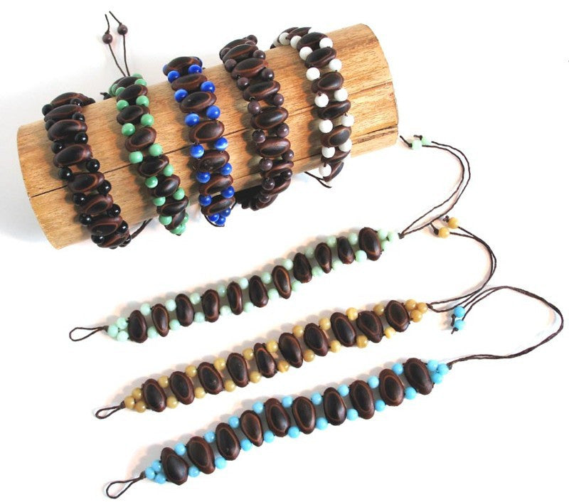 Wholesale Guanacaste Seed and Crystal Bracelets