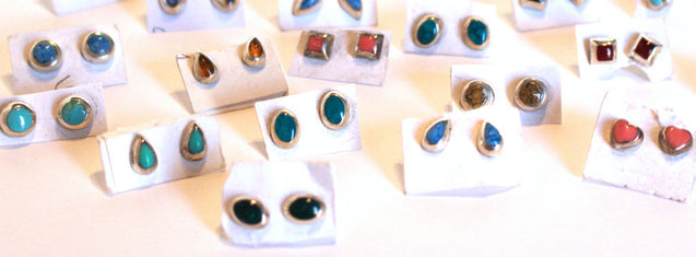 Wholesale Sterling Silver Assorted Stone Stud Earrings