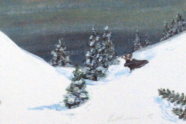Winter Miniature Print - Winter Moose