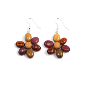 flower earrings, drop earring style wood earrings