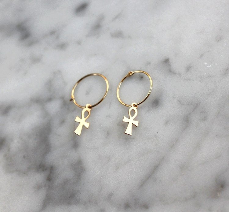 14K Ankh Cross Hoops