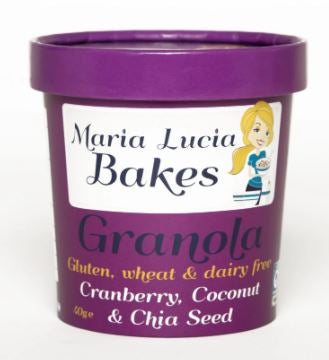 Maria Lucia Bakes Gluten Free Cranberry, Coconut and Chia Seed ON-THE-GO POT $3.40
