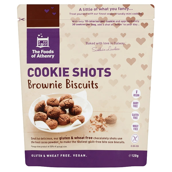 Foods of Athenry Gluten Free Cookie Shots, Bite Size Brownie Biscuits 120g $6.10
