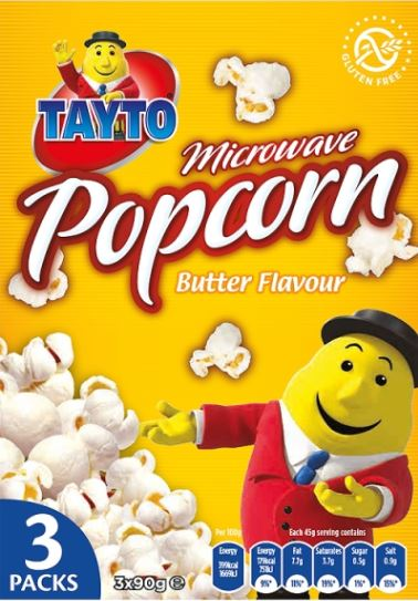 Tayto Microwave Popcorn Butter Flavour 3 x 80g