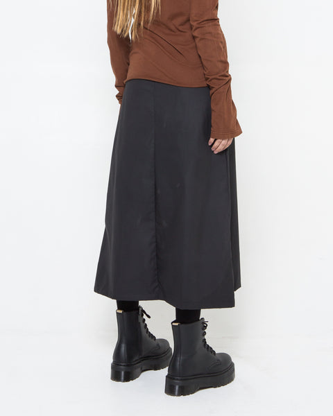 Black Waxed Poplin Skirt