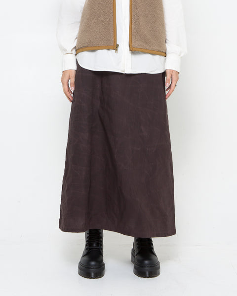 Brown Waxed Poplin Skirt