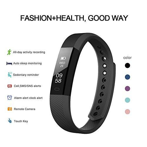 LETSCOM Black Fitness Tracker Watch
