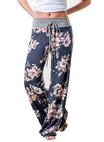 Women's Floral Yoga Palazzo Casual Wide Leggings