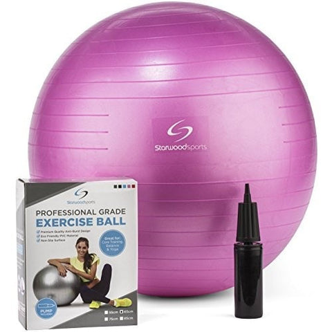 Exercise Ball – Yoga Swiss Ball with Hand Pump For Women and Men – (Pink - 65 cm)