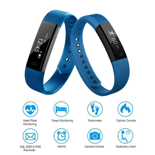 Letscom Waterproof Blue Fitness Tracker