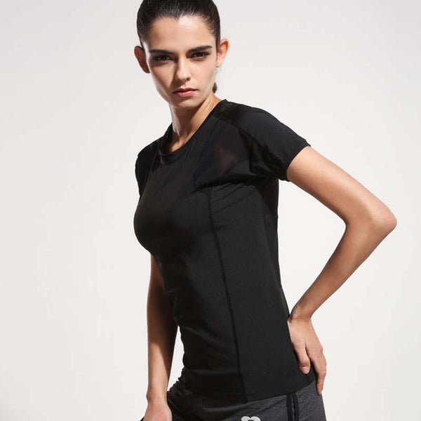 Women Black Short Sleeve Elastic Yoga Mesh Sports T Shirt