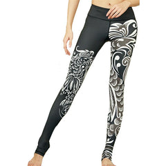 Oyoo Black Phoenix Paper Cut Printed Ladies Yoga Leggings