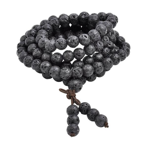 Natural Lava Rock Stone Healing Prayer Beads Bracelet