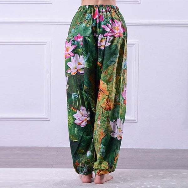 Women Floral Print High Waist Boho Yoga Pants - Green