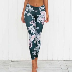 Woman Yoga Leggings Flora Printed High Waist