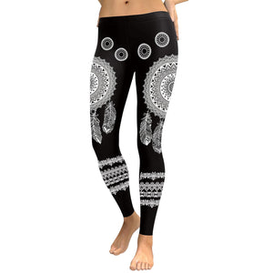 JIGERJOGER Round Circle Mandala Art American Indians Dreamcatcher Digital Print Leggings