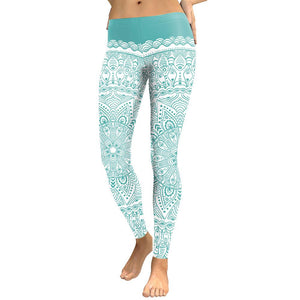 JIGERJOGER Ladies Mint Green Art Mandala Leggings