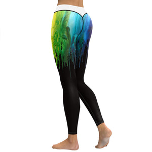 Watercolor Painting Pigment 3D Printed High Waist Pants