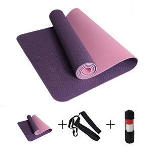 Non Slip  6mm TPE Sport Yoga Pilates Mat With Yoga Bag Strap