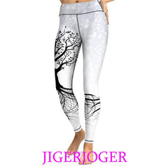 Womens White Tree Of Life Printed Yoga Leggings