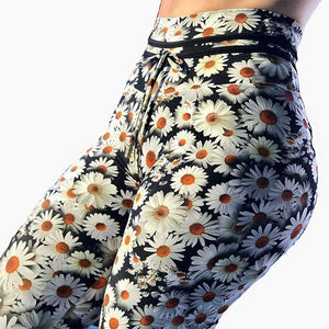 Womens White Flowers Print  High Waist Elastic Yoga Pants