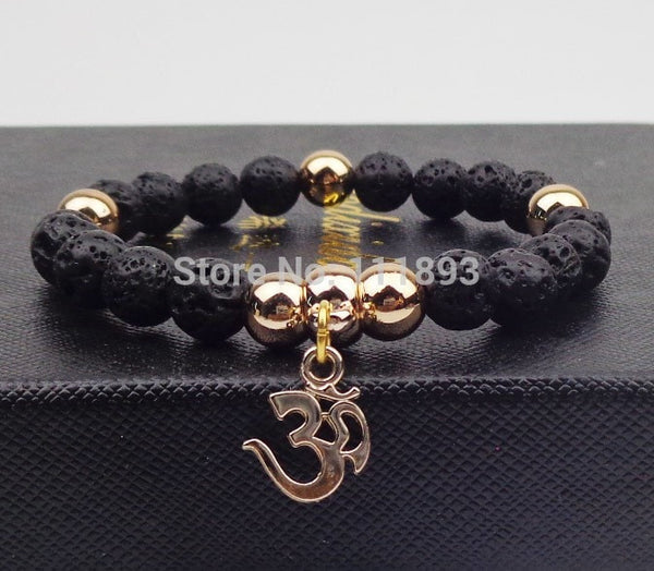 Gold plated OM Natural Stone Bracelet