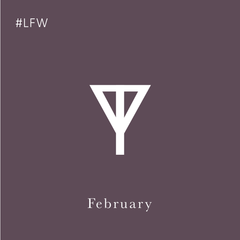 Fashion Month Spotify Playlist link, Taylor Yates brand on Plum background with #LFW, a Spotify playlist full of songs that remind us of being at London Fashion Week