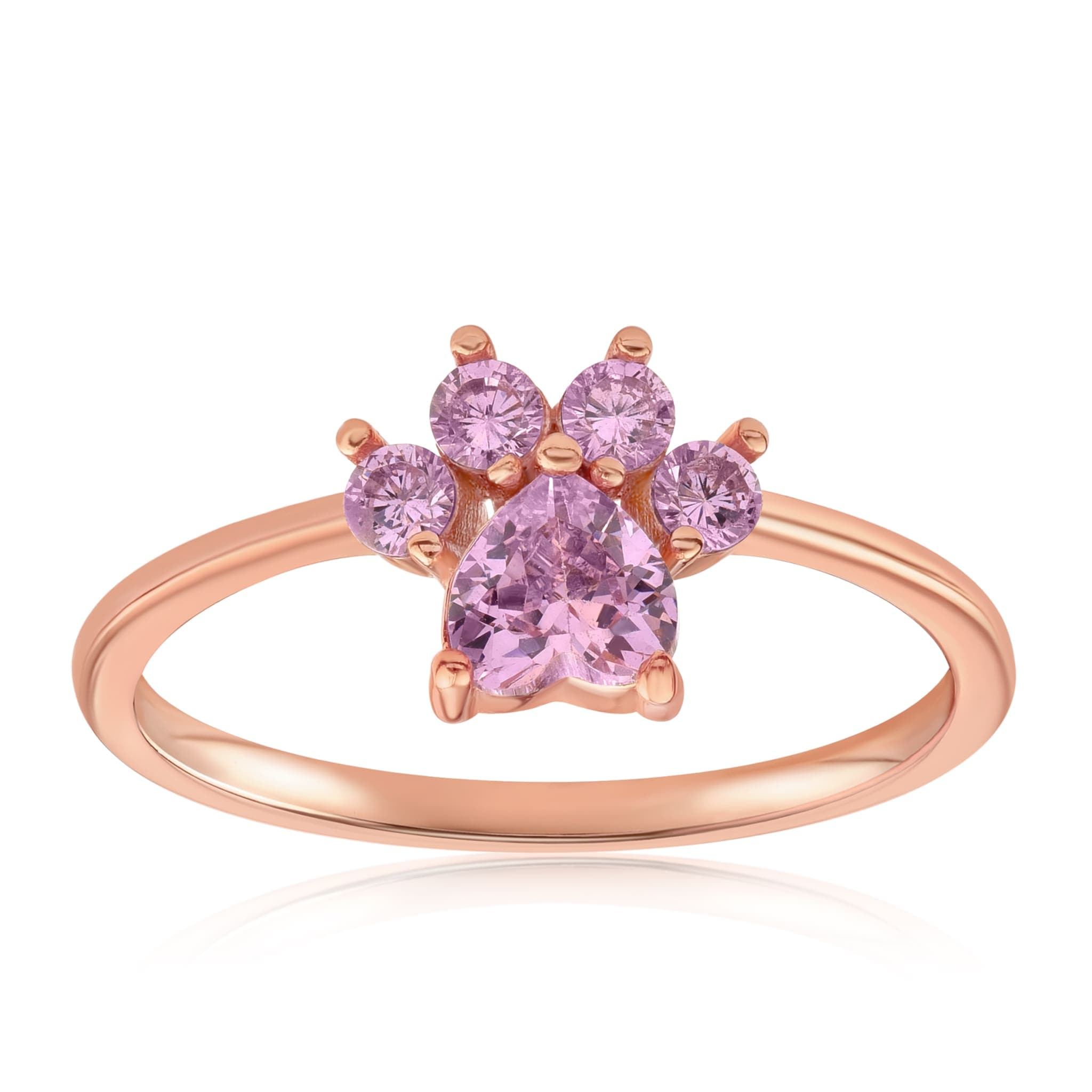 Bella Paw Rose Quartz Ring - Front View Facing Up - 18K Rose Gold Vermeil