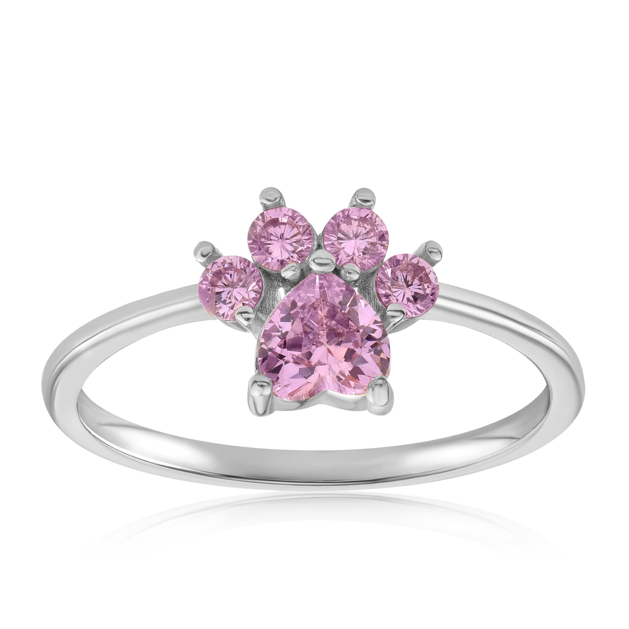 Bella Paw Rose Quartz Ring - Front View Facing Up - 925 Sterling Silver