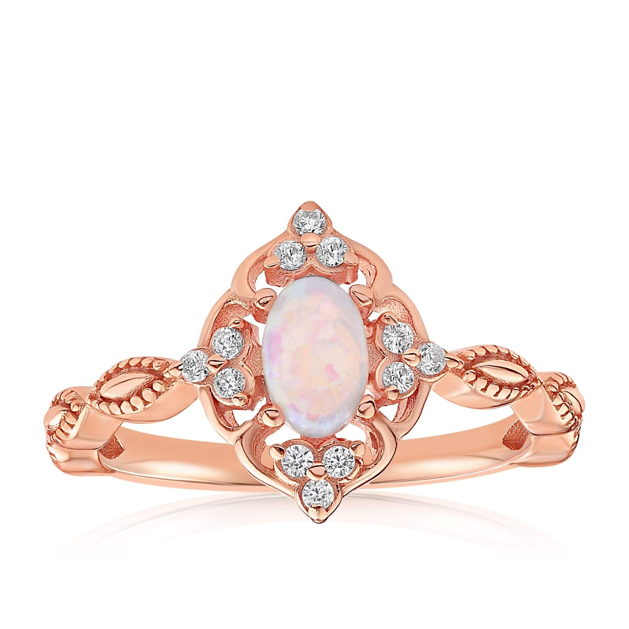 Blue Opal Carved Ring - Front View Facing Up - 18K Rose Gold Vermeil