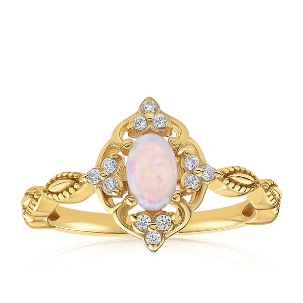 Blue Opal Carved Ring - Front View Facing Up - 18K Yellow Gold Vermeil