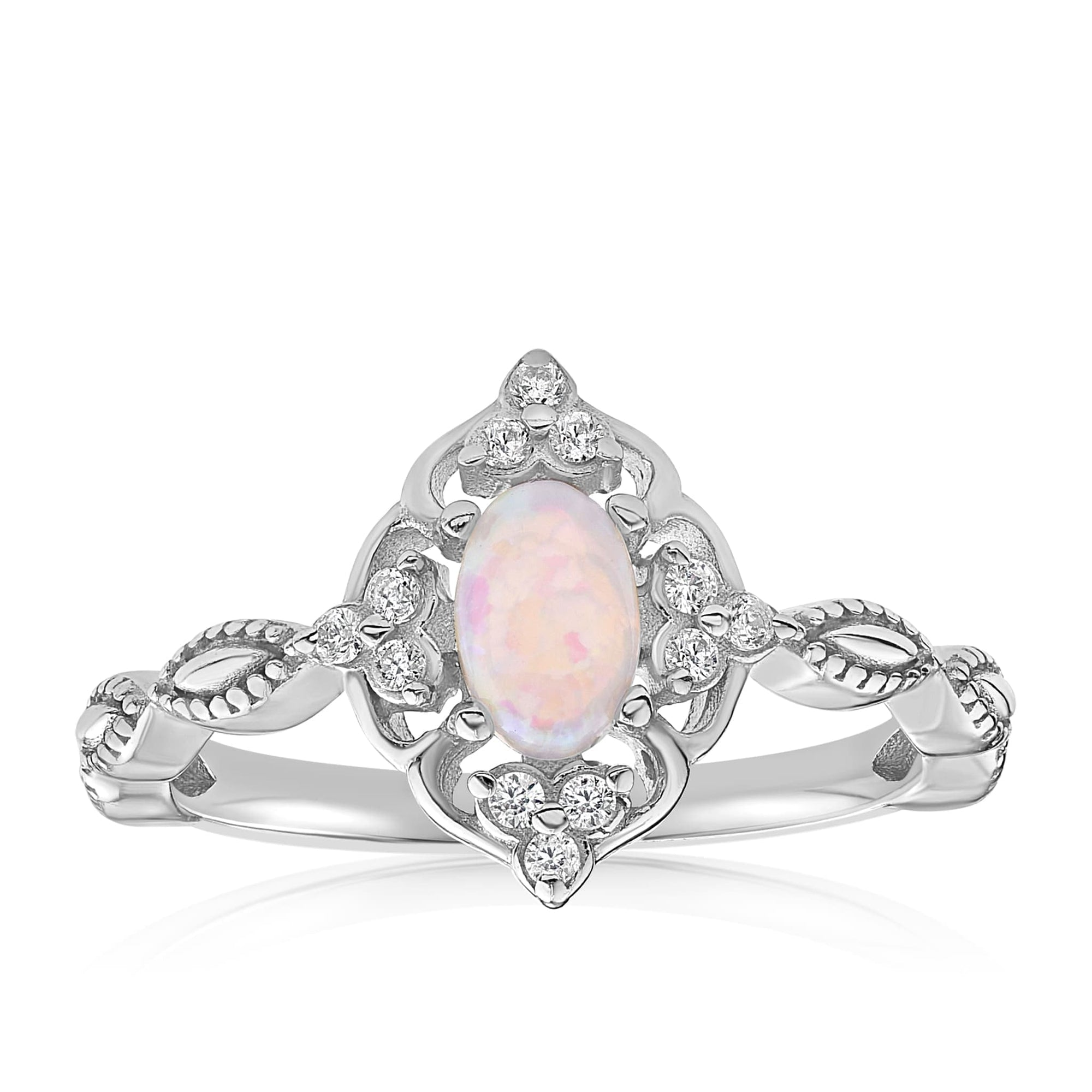 Blue Opal Carved Ring - Front View Facing Up - 925 Sterling Silver